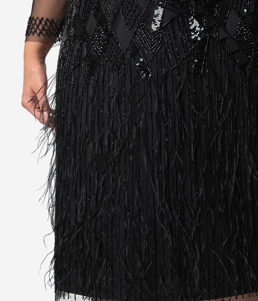 08b0555343d9d ... Plus Size 1920s Black Beaded   Feather Long Sleeved Ivy Cocktail Dress