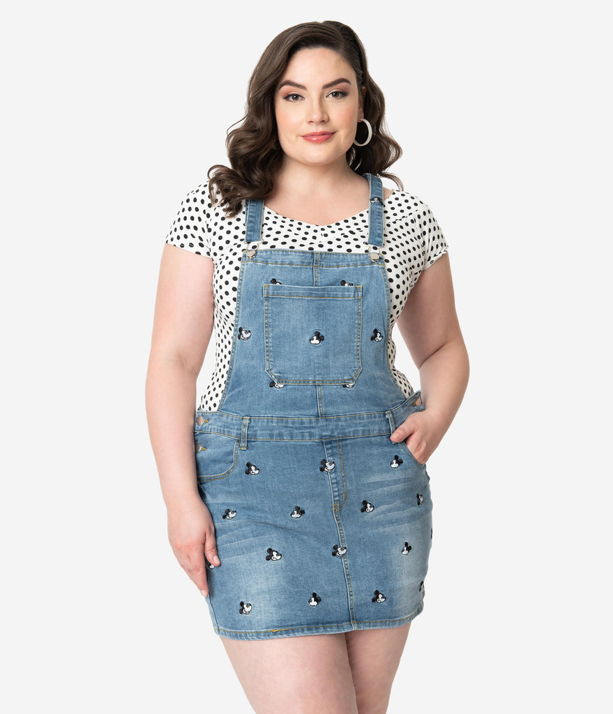 Cakeworthy Plus Size Blue Denim Disney Mickey Mouse Jean Overalls Dress