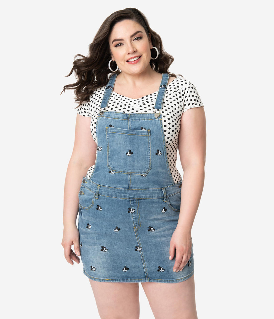 Cakeworthy Plus Size Blue Denim Disney Mickey Mouse Jean Overalls ...