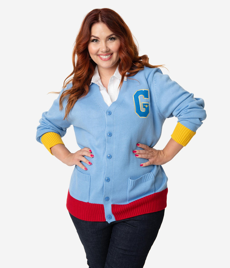 Cakeworthy Plus Size Blue Knit Long Sleeve Aladdin Genie Varsity Cardigan