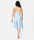 Unique Vintage Light Blue Embroidered Floral Chambray Wide Leg Nancy Romper