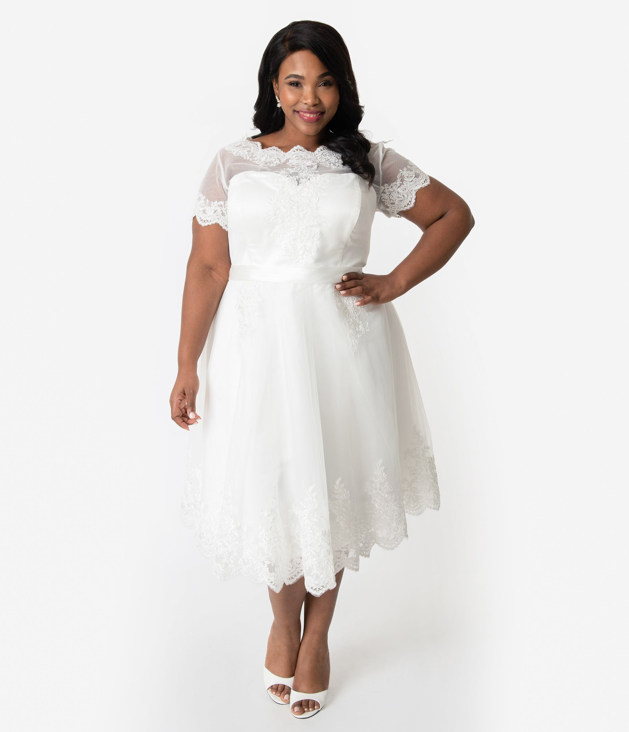60s Wedding Dresses | 70s Wedding Dresses Unique Vintage Plus Size 1950S White Lace Short Sleeve Cannes Bridal Dress $248.00 AT vintagedancer.com