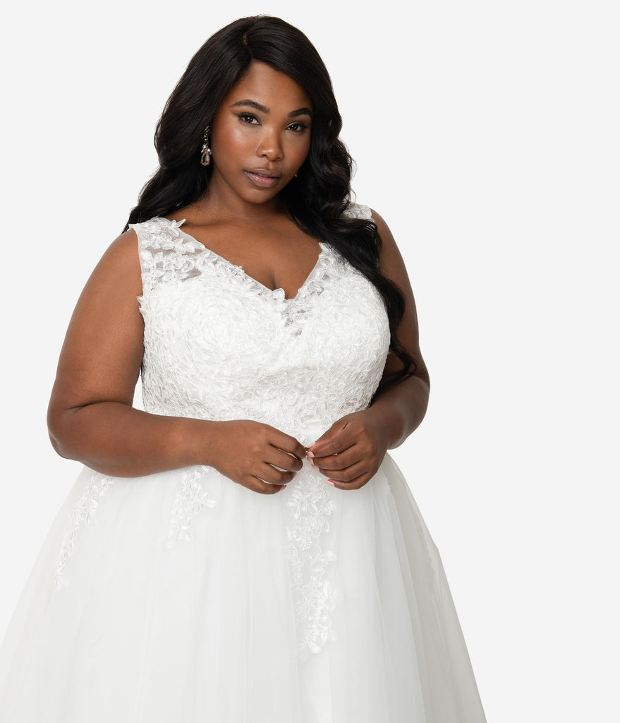 Unique Vintage Plus Size 1950s Ivory Tulle Lace Monte Carlo Wedding Dress