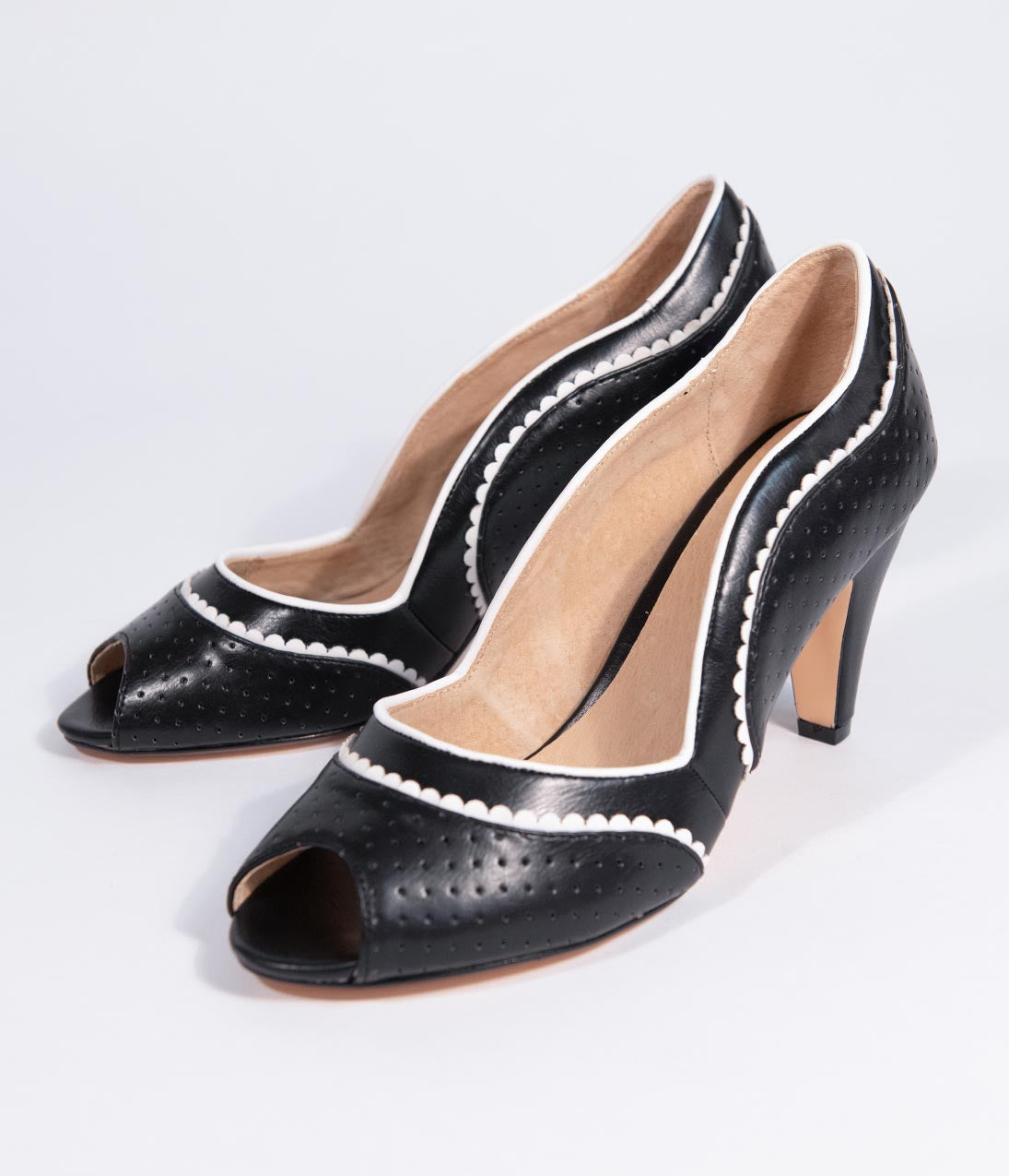 Vintage Style Shoes, Vintage Inspired Shoes Chelsea Crew Black  White Scalloped Leatherette Peep Toe Shana Pumps $68.00 AT vintagedancer.com