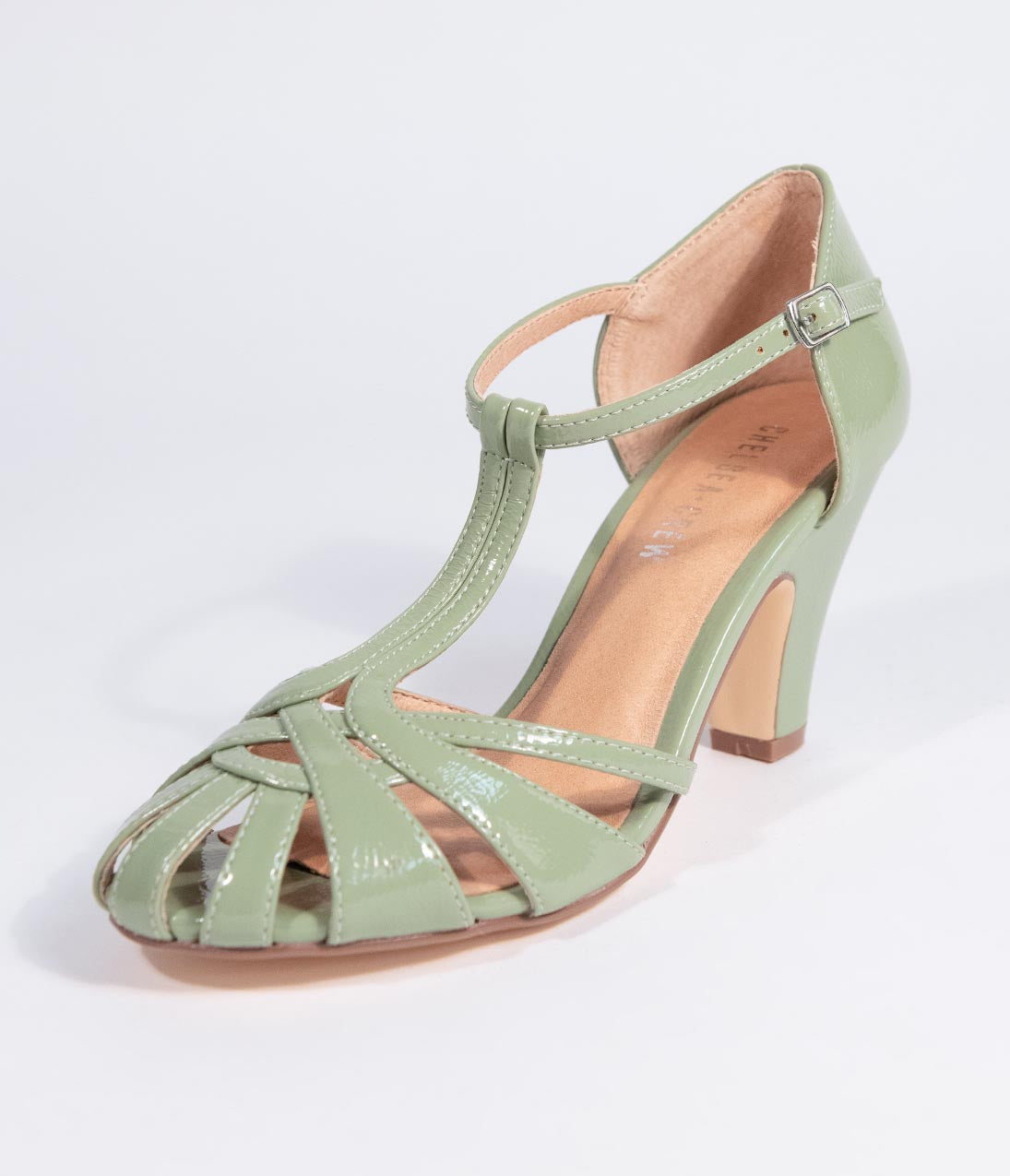 a09719f7742 Chelsea Crew Mint Crinkle Leatherette Woven Sergi T-Strap Pump