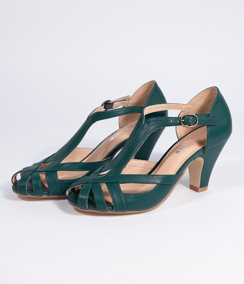 Chelsea Crew Emerald Green Leatherette Peep Toe T-Strap Carly Pump