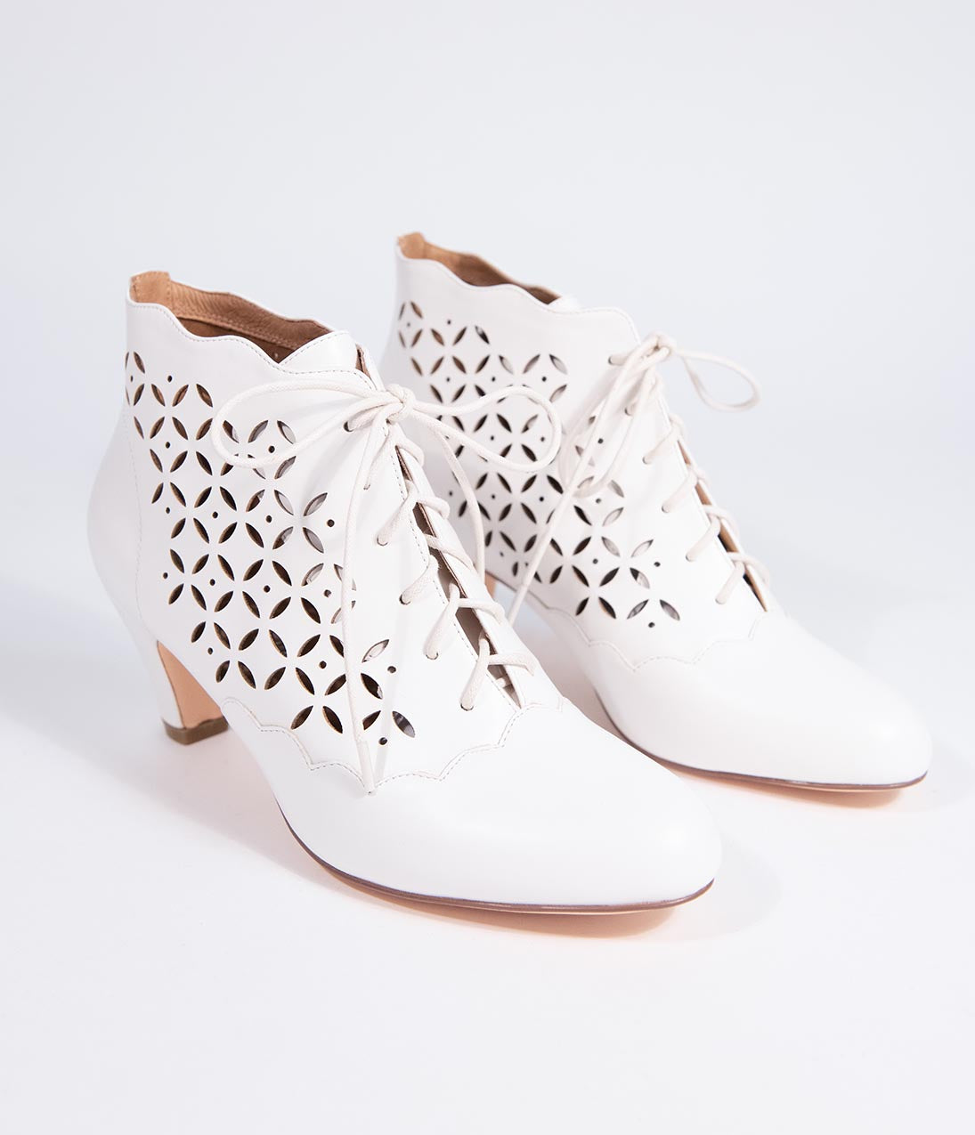 Steampunk Boots & Shoes, Heels & Flats Chelsea Crew White Leatherette Lace Up Cutout Illusion Booties $82.00 AT vintagedancer.com