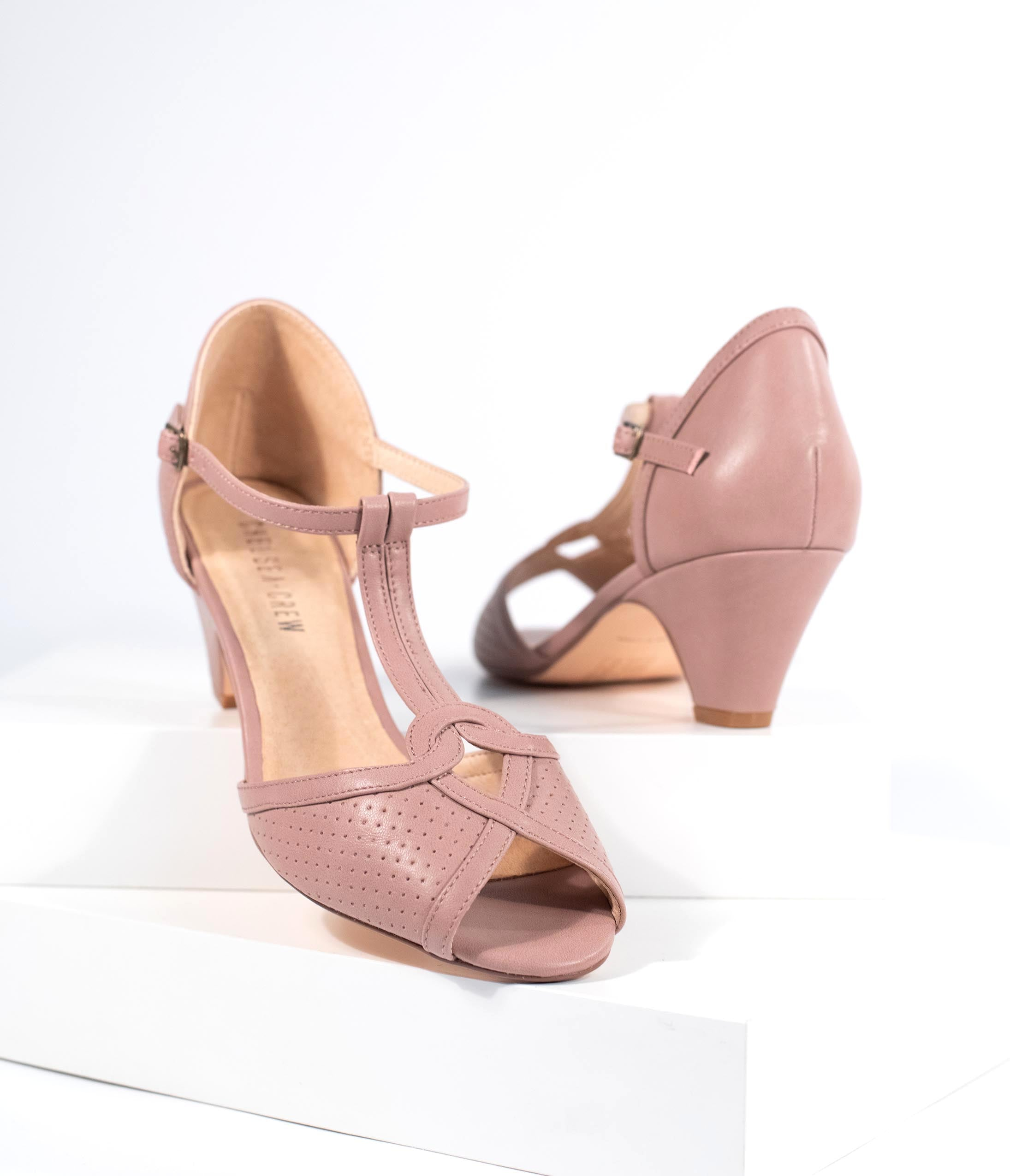 10 Popular 1940s Shoes Styles for Women Chelsea Crew Mauve Leatherette T-Strap Peep Toe Perforated Nancy Pumps $68.00 AT vintagedancer.com