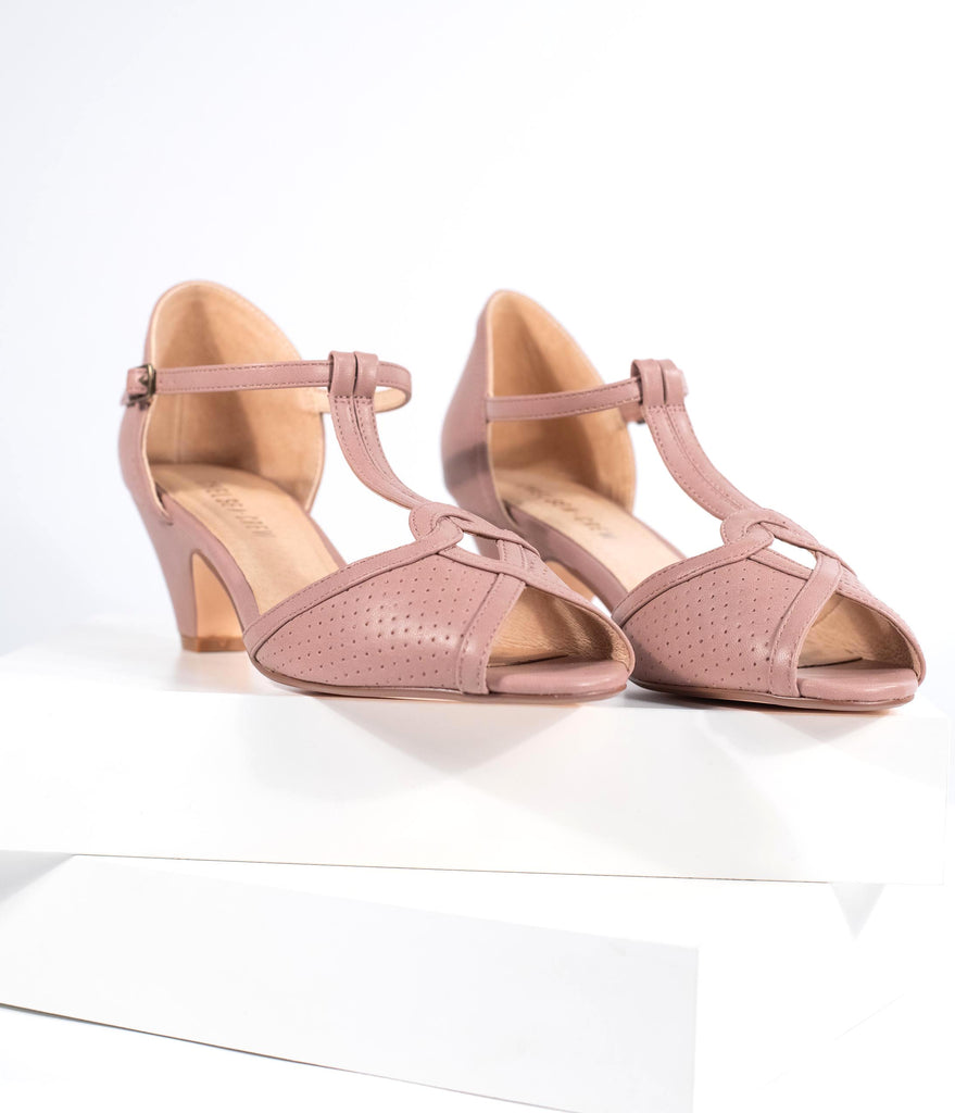 Chelsea Crew Mauve Leatherette T-Strap Peep Toe Perforated Nancy Pumps