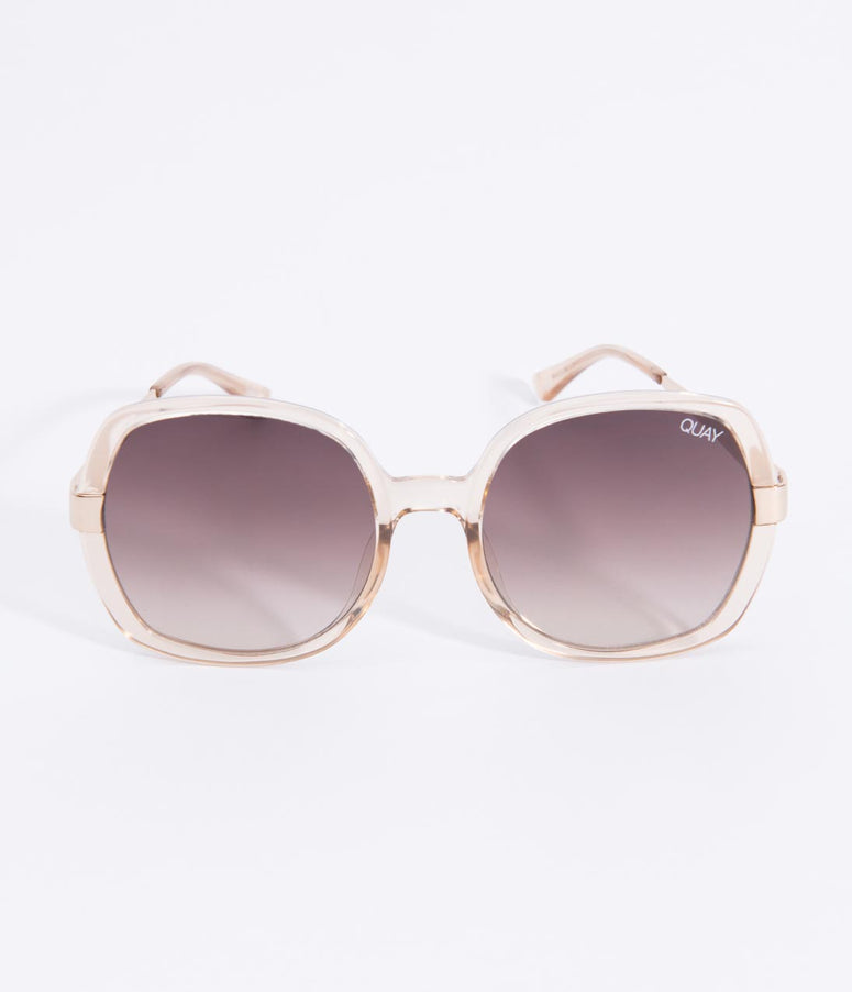 Quay Champagne & Brown Lens Gold Dust Rounded Sunglasses