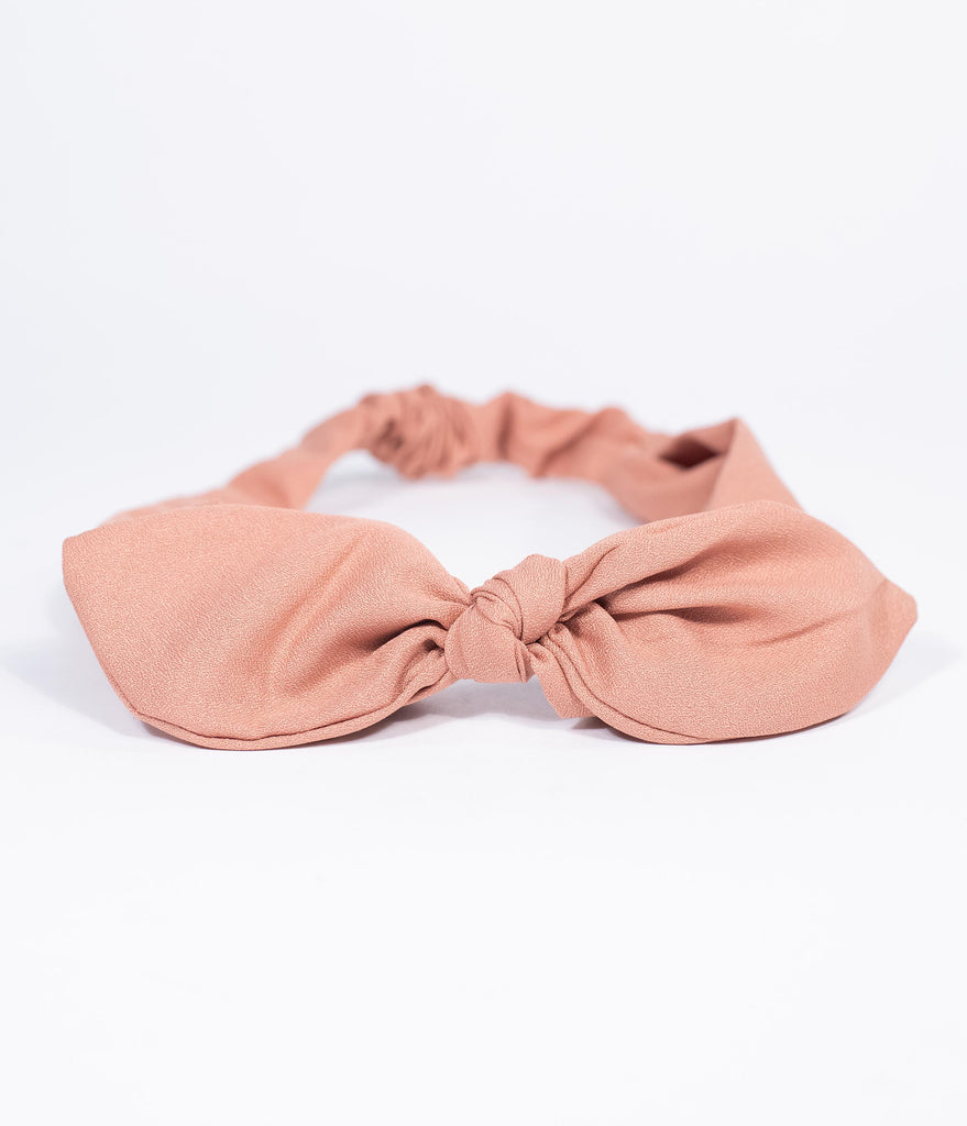 Unique Vintage Light Coral Pink Bow Headband