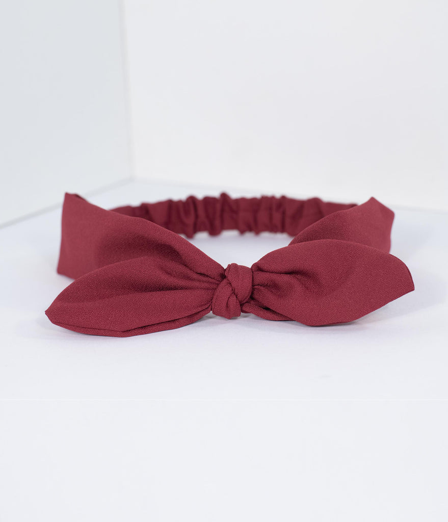 Unique Vintage Burgundy Red Bow Headband