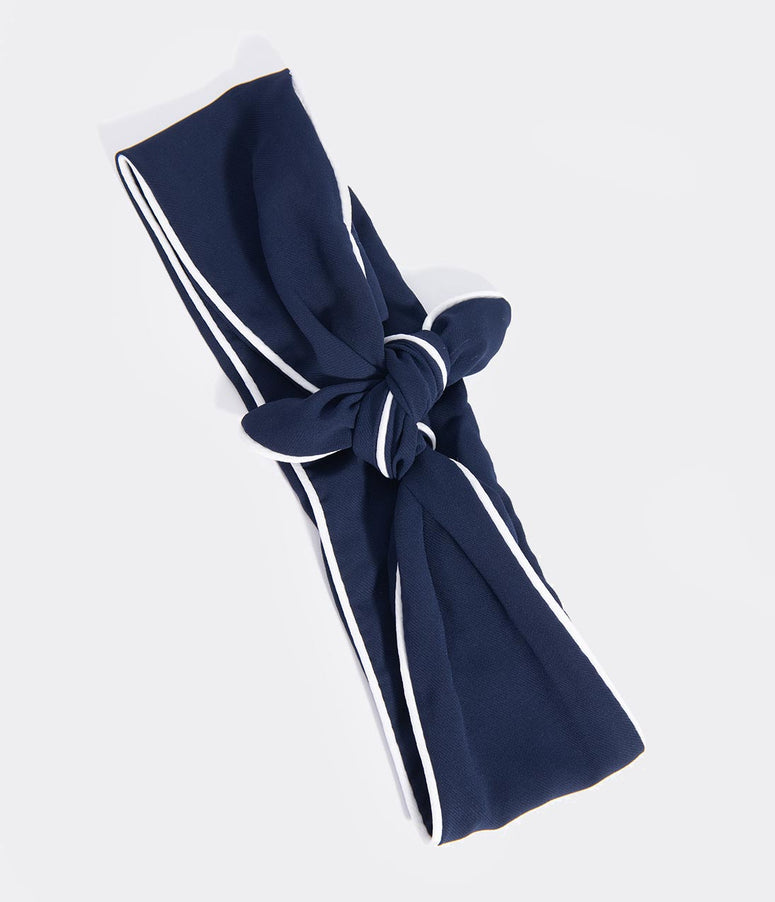 Unique Vintage Navy & White Wired Chiffon Hair Scarf