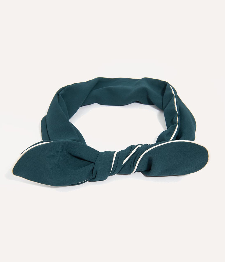 Unique Vintage Teal & White Wired Chiffon Hair Scarf