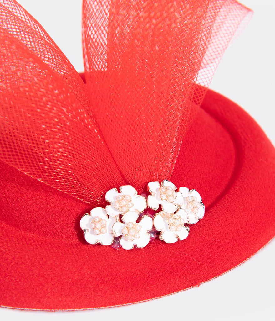 Unique Vintage Red Pillbox Sinamay & White Enamel Floral Fascinator