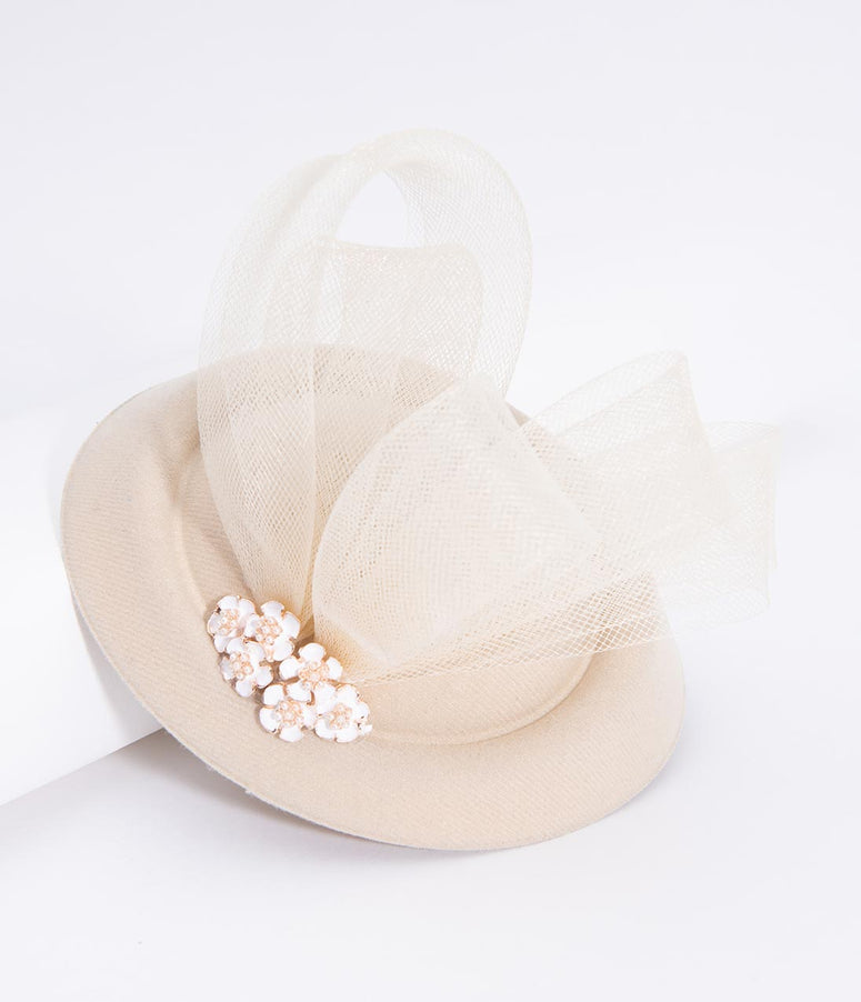 Unique Vintage Ivory Pillbox Sinamay & White Enamel Floral Fascinator