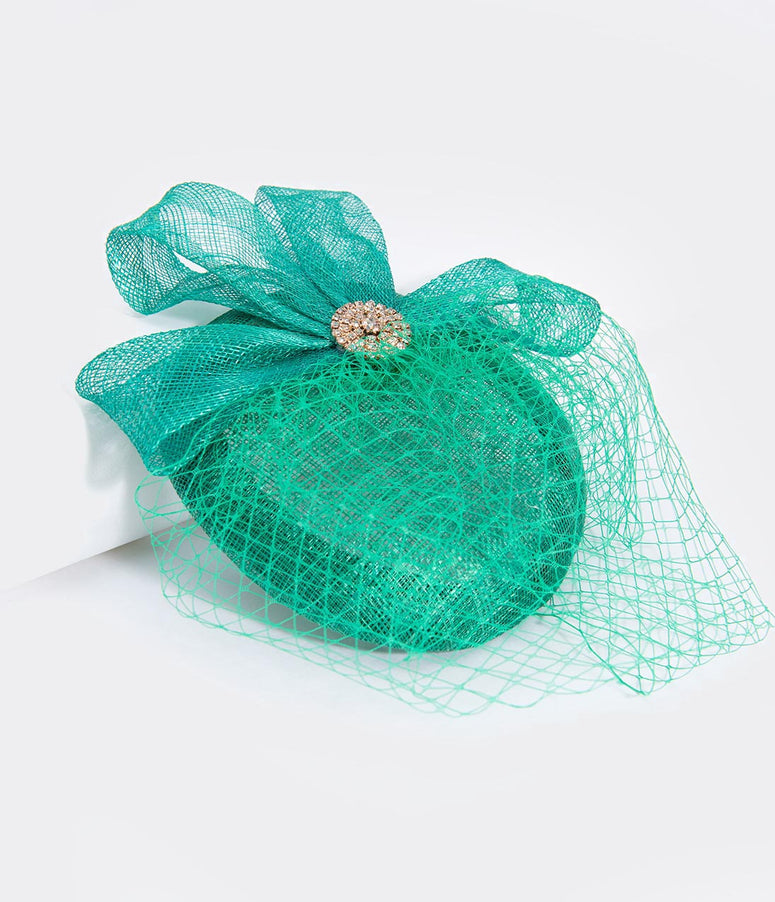 Unique Vintage Green Sinamay & Rhinestone Brooch Fascinator