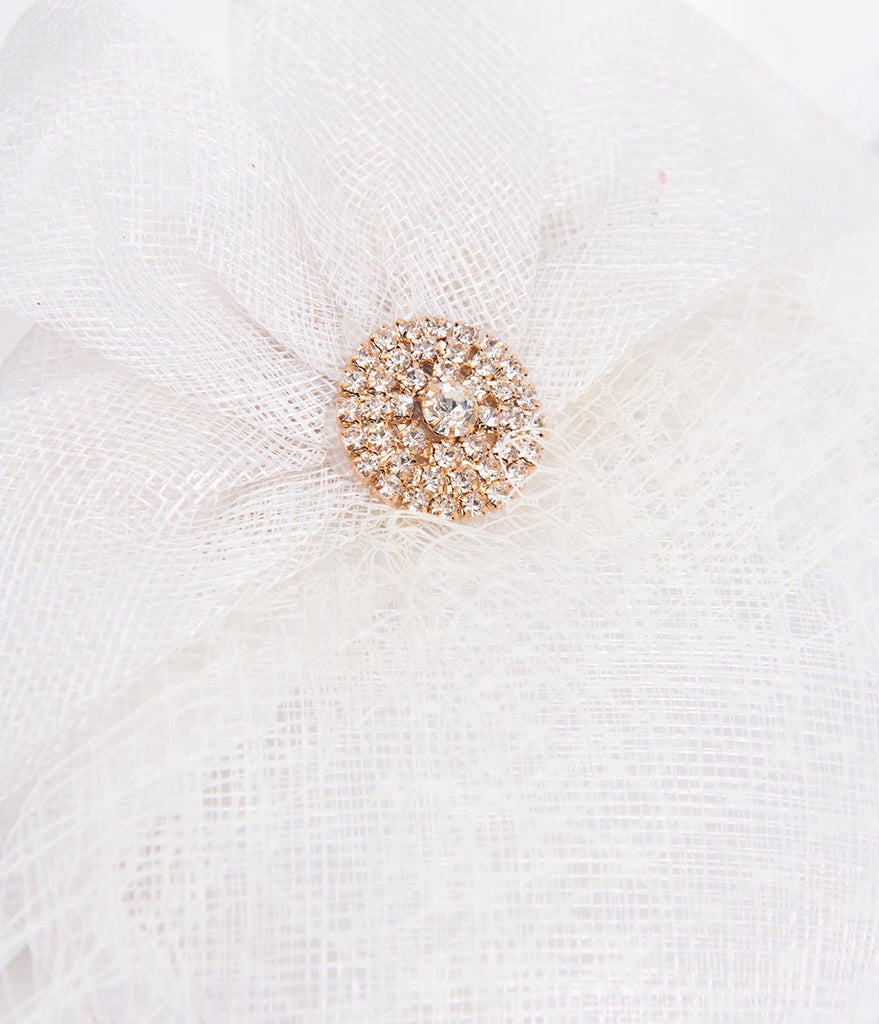Unique Vintage White Sinamay & Rhinestone Brooch Fascinator