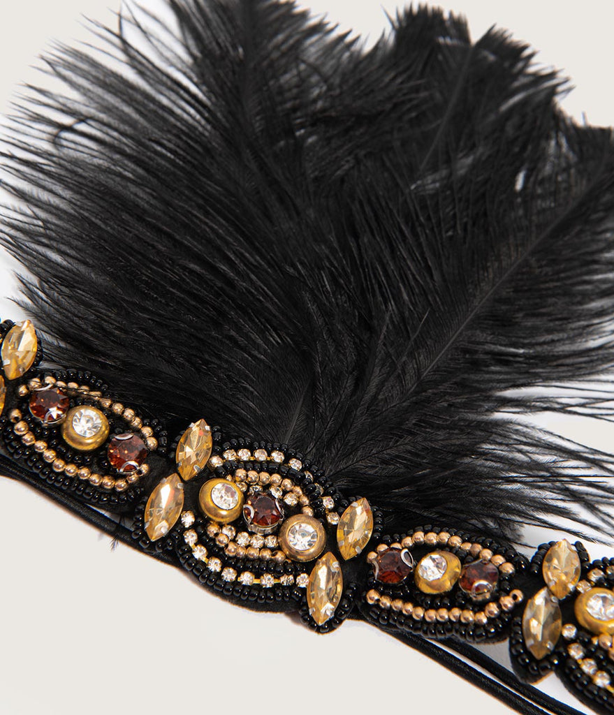 Unique Vintage Black Feather & Gold Beaded Fringe Flapper Headband