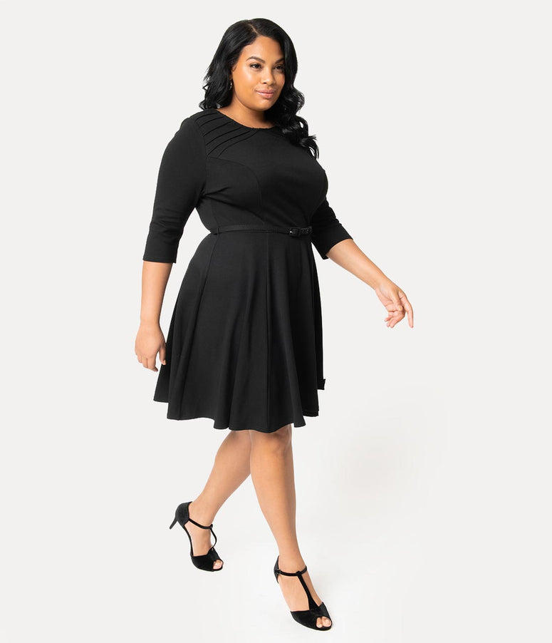 Unique Vintage Plus Size Black Knit Half Sleeve Fit & Flare Dress