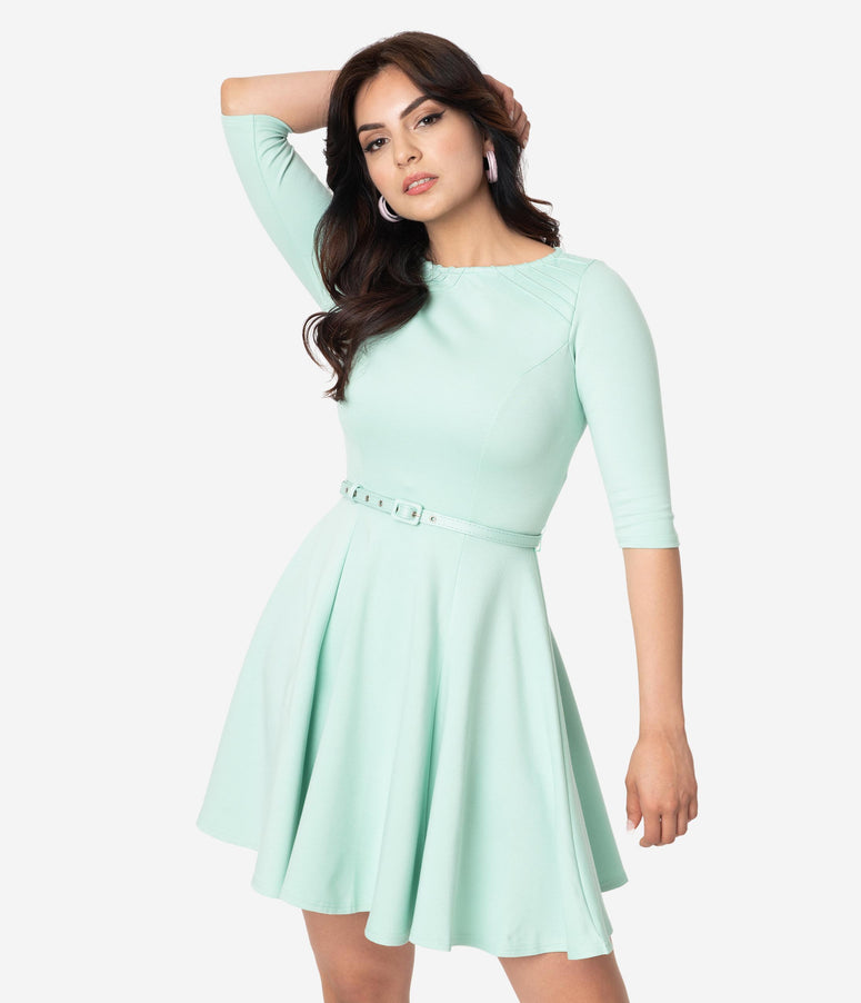 Unique Vintage Mint Knit Half Sleeve Fit & Flare Dress