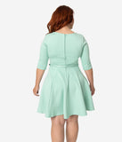 Unique Vintage Plus Size Mint Knit Half Sleeve Fit & Flare Dress