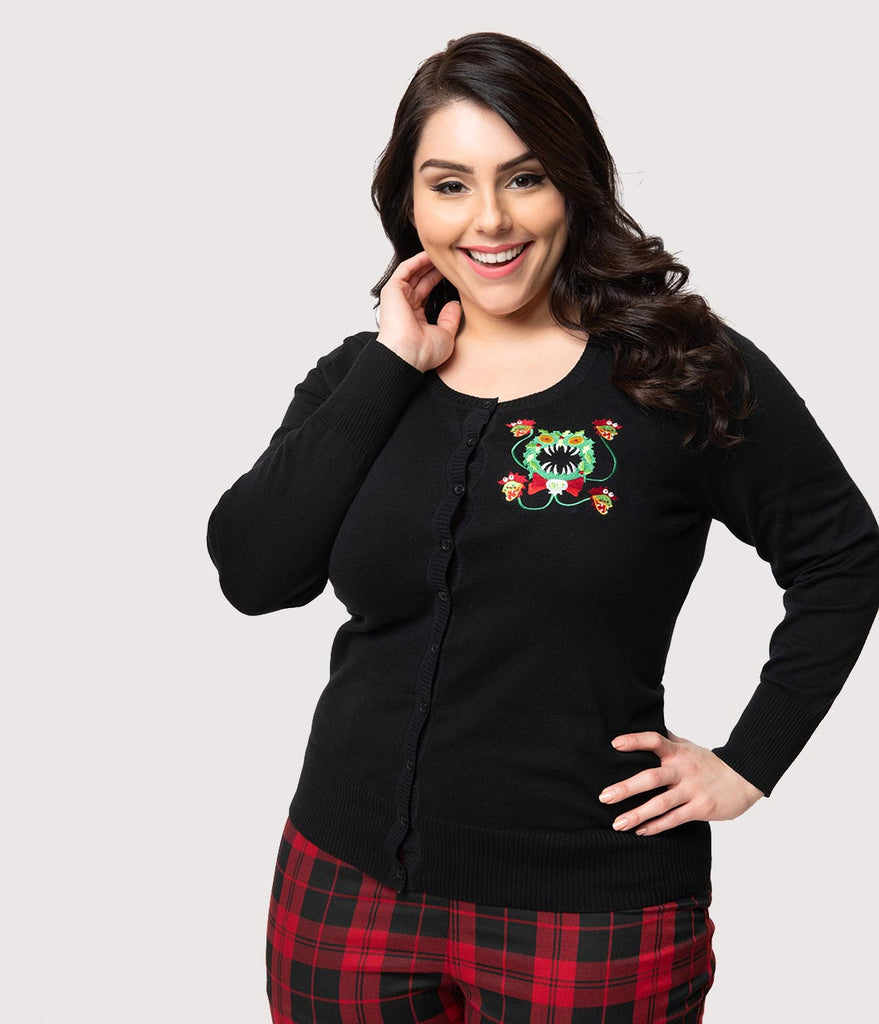 Plus Size Black Knit Merry Scary Christmas Wreath Long Sleeve Cardigan