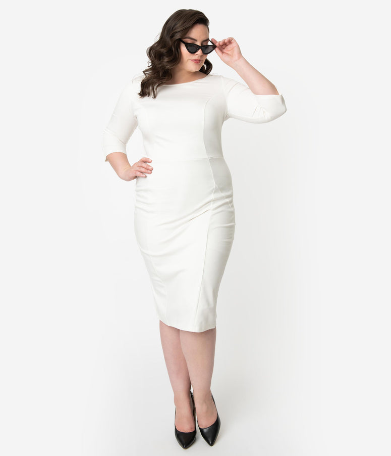 a846a799276 Unique Vintage Plus Size 1960s Ivory Long Sleeve Stretch Mod Wiggle Dress