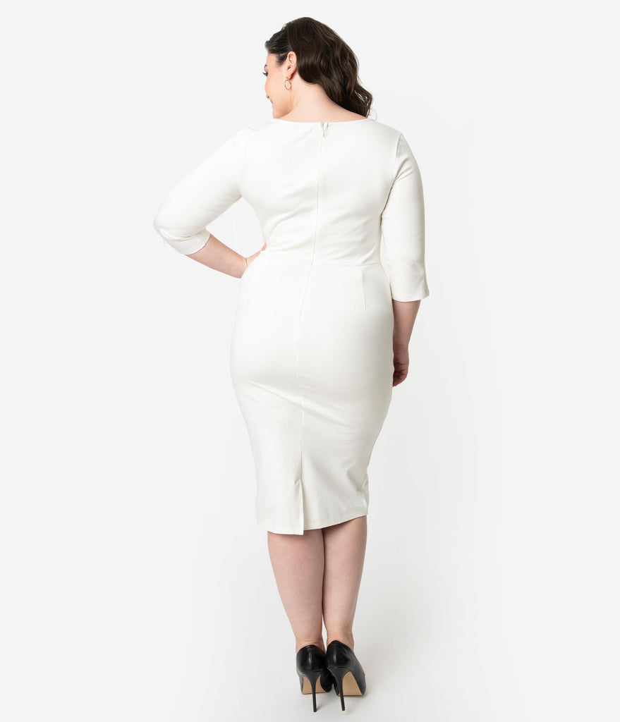 Unique Vintage Plus Size 1960s Ivory Long Sleeve Stretch Mod Wiggle Dress
