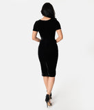Unique Vintage 1960s Black Velvet Short Sleeve Stretch Mod Wiggle Dress