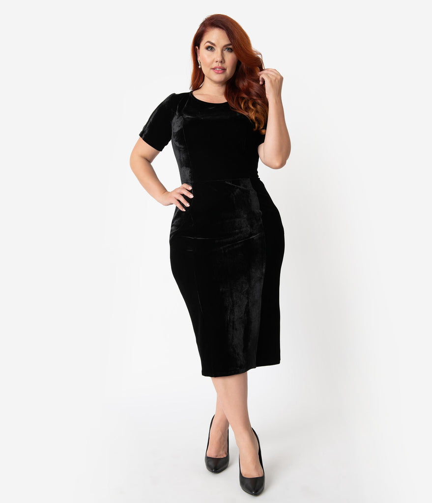 Unique Vintage Plus Size 1960s Black Velvet Short Sleeve Stretch Mod Wiggle Dress