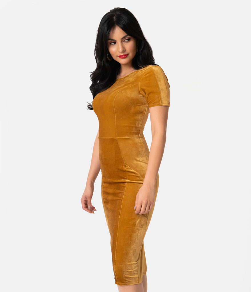 Unique Vintage 1960s Mustard Velvet Short Sleeve Stretch Mod Wiggle Dress