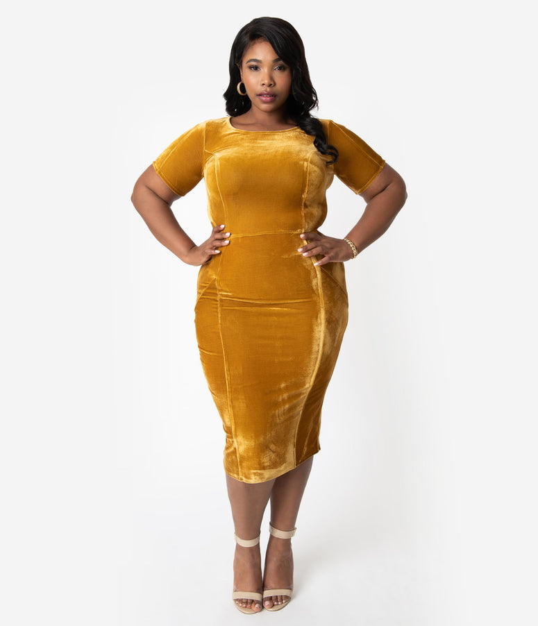 Unique Vintage Plus Size 1960s Mustard Velvet Short Sleeve Stretch Mod Wiggle Dress