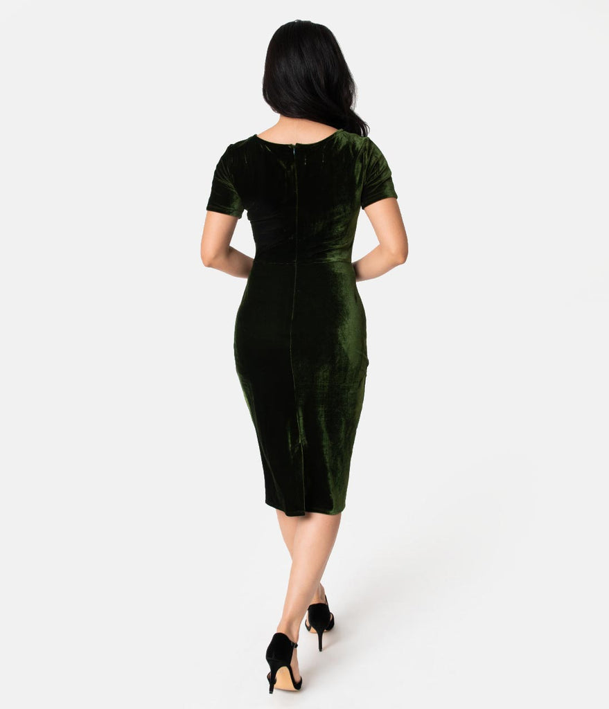 Unique Vintage 1960s Olive Green Velvet Short Sleeve Stretch Mod Wiggle Dress