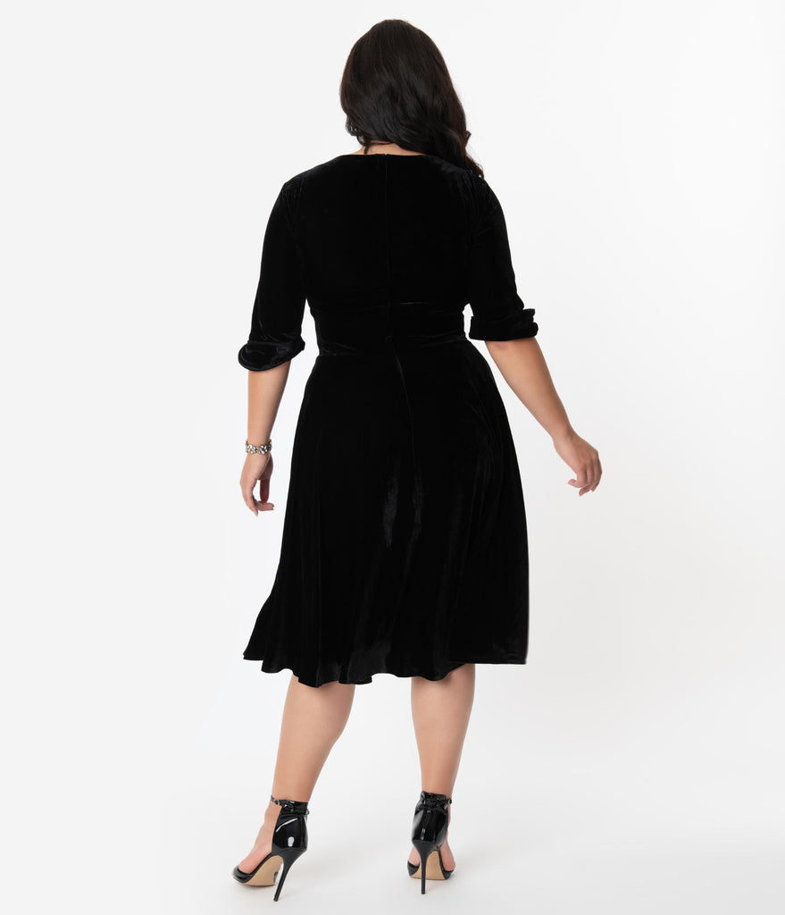 Unique Vintage Plus Size 1950s Black Velvet Delores Swing Dress with Sleeves