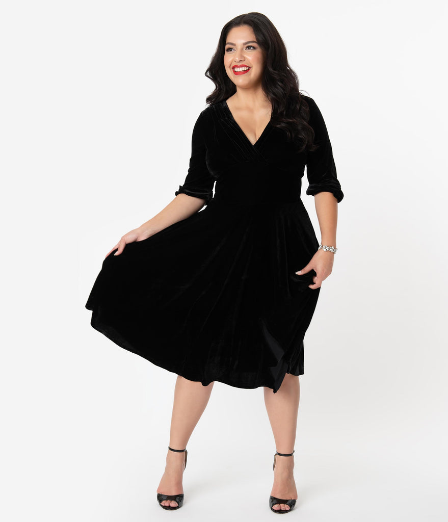 Unique Vintage Plus Size 1950s Black Velvet Delores Swing