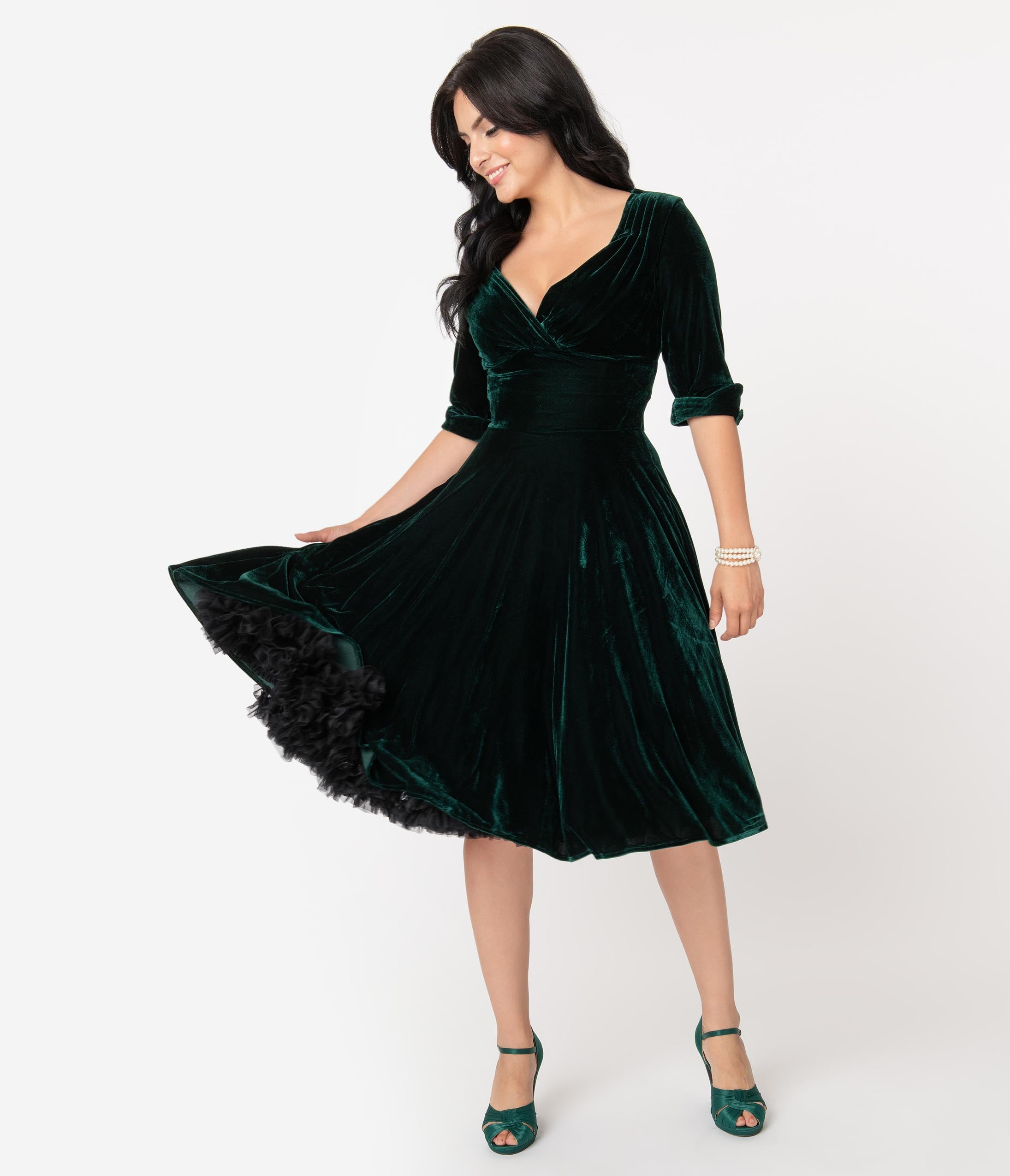 Vintage Christmas Gift Ideas for Women Unique Vintage 1950S Emerald Green Velvet Delores Swing Dress With Sleeves $98.00 AT vintagedancer.com