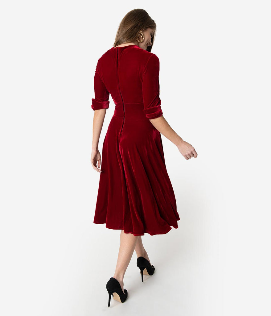 Unique Vintage 1950s Burgundy Red Velvet Delores Swing Dress with Sleeves