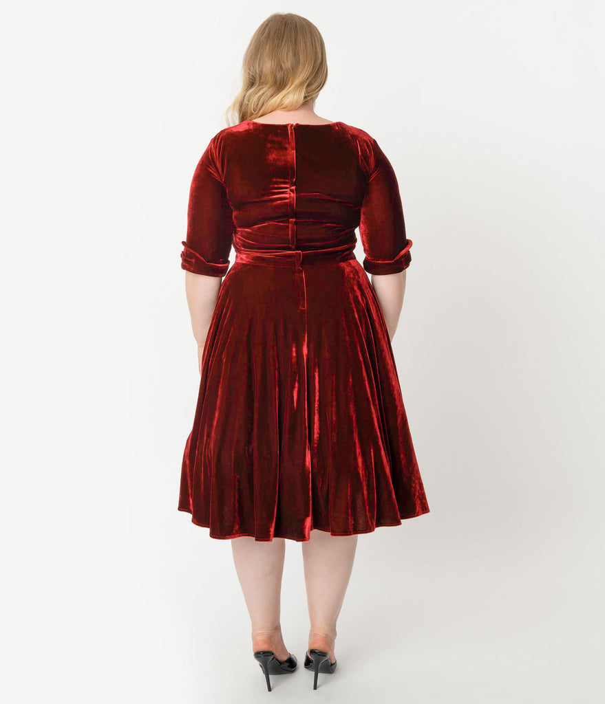 Unique Vintage Plus Size 1950s Burgundy Red Velvet Delores Swing Dress with Sleeves