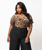 Unique Vintage Plus Size 1950s Leopard Print Off Shoulder Ruffle Frenchie Knit Top