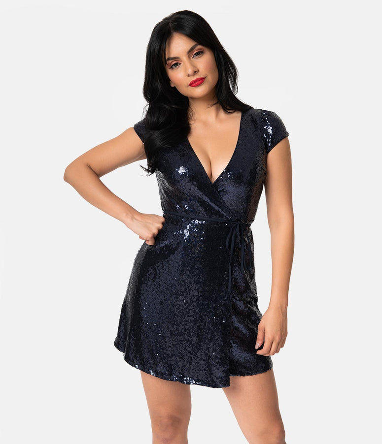 Navy Blue Sequin Sexy Cap Sleeve Flare Wrap Dress