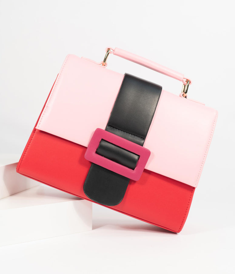 Lola Ramona Red & Pink Buckle Stella Sublime Handbag