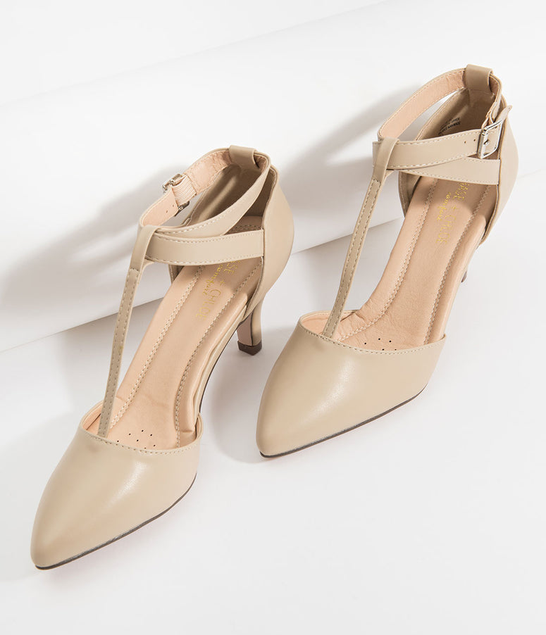 Beige Leatherette Pointed Toe Ellie T-Strap Heels
