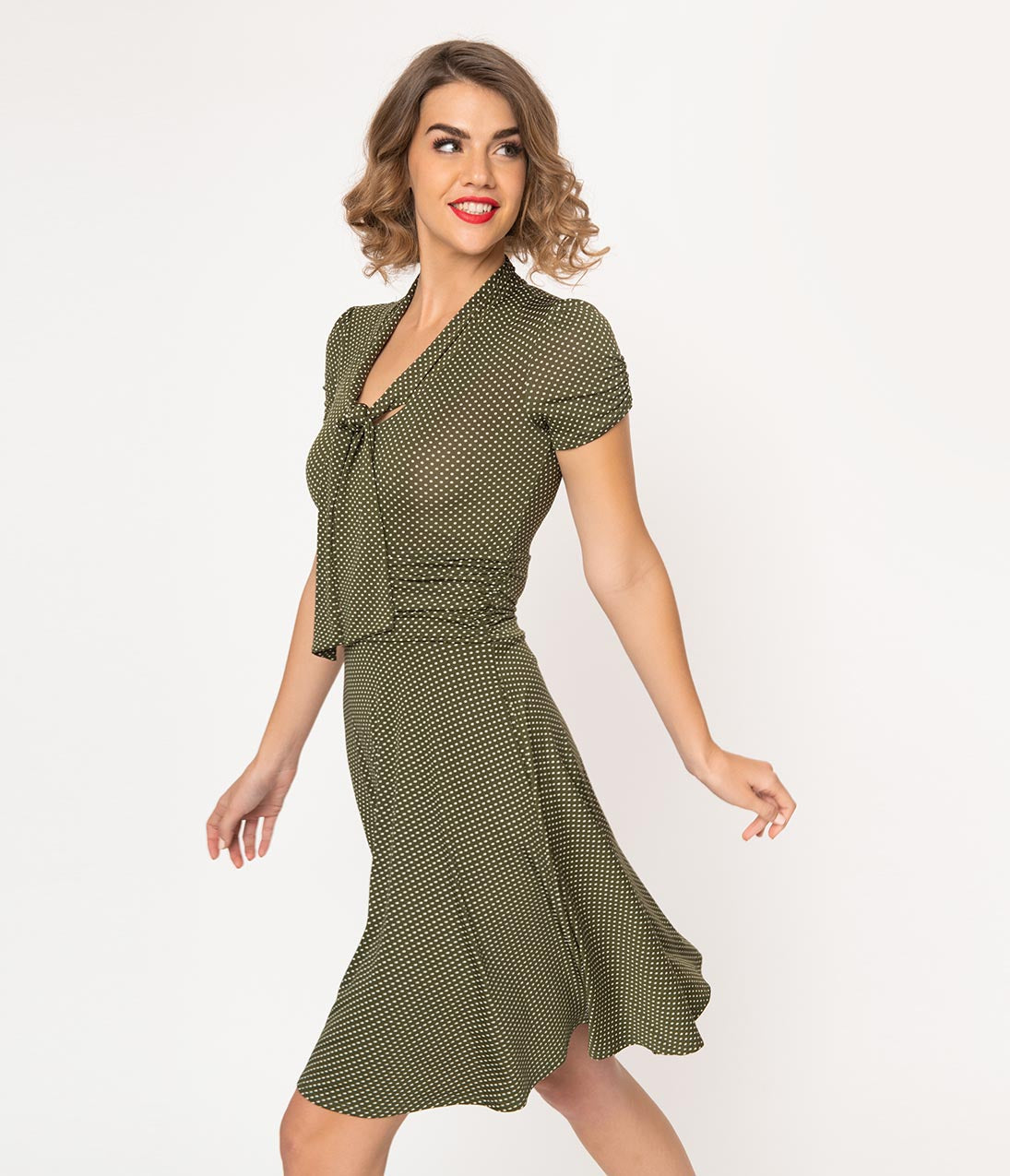 Vintage Tea Dresses, Floral Tea Dresses, Tea Length Dresses Folter 1940S Style Olive Green  White Pin Dot Neck Tie Swing Dress $72.00 AT vintagedancer.com