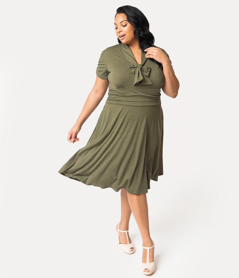 Folter Plus Size 1940s Style Olive Green & White Pin Dot Neck Tie Swing Dress