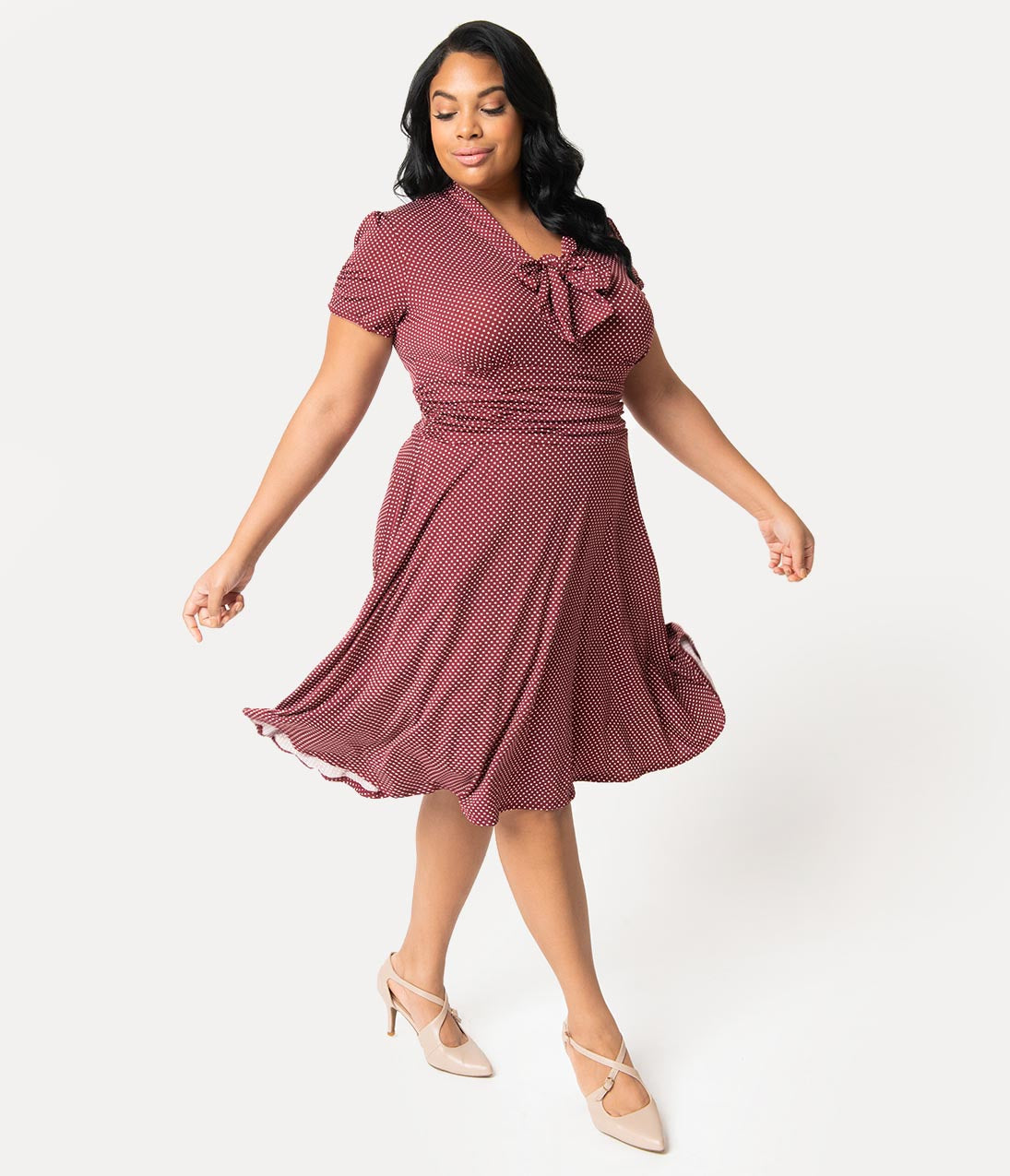 1940s Plus Size Fashion: Style Advice from 1940s to Today Folter Plus Size 1940S Style Burgundy  White Pin Dot Neck Tie Swing Dress $72.00 AT vintagedancer.com