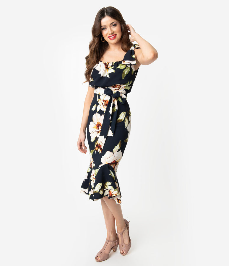 Stop Staring! 1950s Navy & White Floral Alora Peplum Wiggle Dress