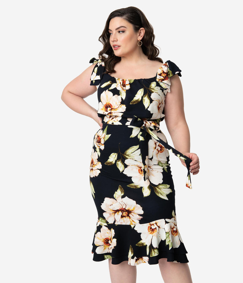 Stop Staring! Plus Size 1950s Navy & White Floral Alora Peplum Wiggle Dress