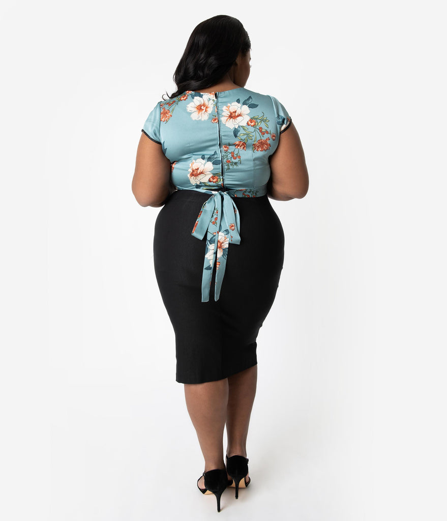 Stop Staring! Plus Size 1950s Pin-Up Blue Floral & Black Stretch Skyla Wiggle Dress