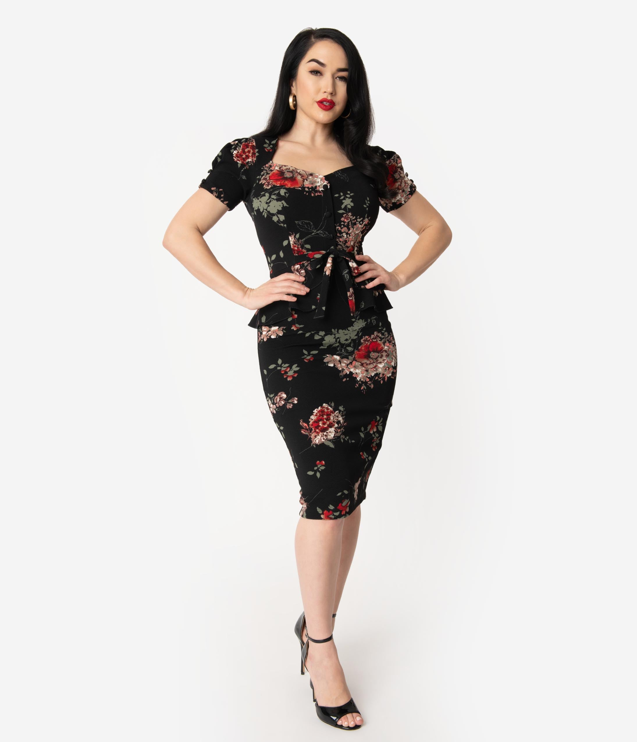 Authentic Natural 1950s Makeup History and Tutorial Stop Staring 1950S Black Floral Peplum Stretch Vital Wiggle Dress $188.00 AT vintagedancer.com